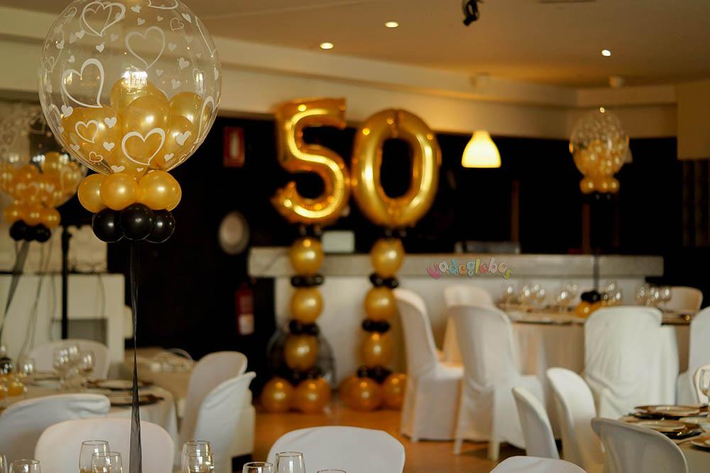 Decoracion para 50 a os con globos blse for Decoracion con globos 50 anos
